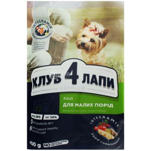 Food for dogs of small breeds dry, 400 g, TM 4 Paws