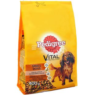 Pedigree, Корм со вкусом птицы и овощей для маленьких собак сухой, 400 г