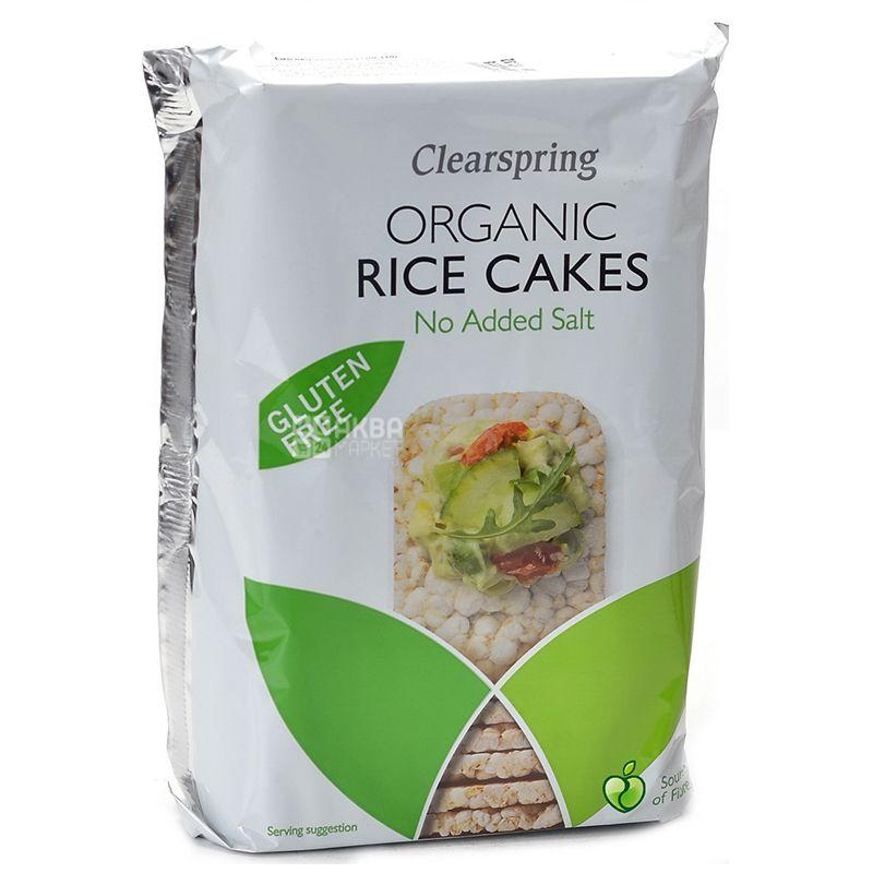 Clearspring, 130 г, Хлібці органічні рисові, без солі, без глютену