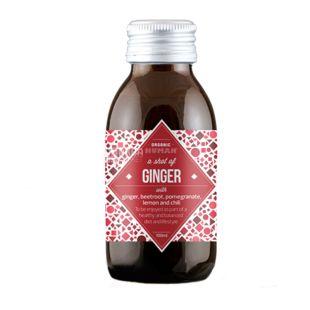 Organic Human, Shot of Ginger, 0,1 л, Органик Хьюмен, Имбирный шот, Напиток соковый с перцем чили, органический, стекло