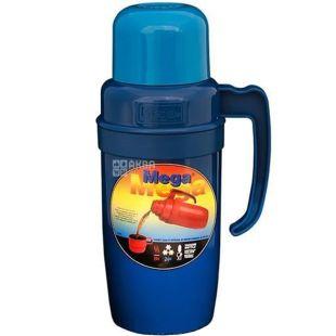 Термос вакуумний універсальний, чорно-синій, 1 л, ТМ Mega