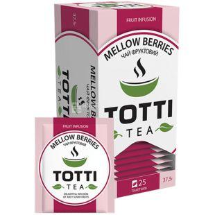 TOTTI Tea, Mellow berries, 25 пак., Чай Тотті, Соковиті ягоди, фруктовий з каркаде