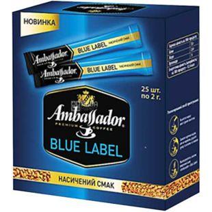 Ambassador Blue Lable, Кава розчинна, стік 25 шт. по 2 г