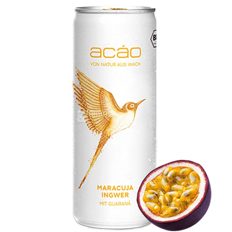 Acao Passion Fruit Ginger, 0,25 л, Напій енергетичний Пешн Фрут Джинджер, Цитрус-Імбир