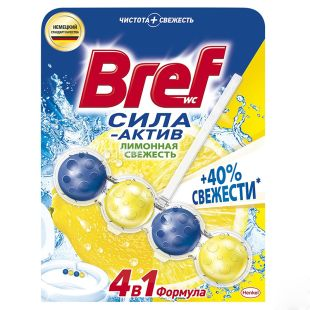 Bref Сила Актив, Лимонная Свежесть, Туалетные блоки для унитаза, 50 г