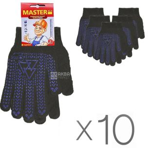 Gloves, Comfortable 40, black, 10 pcs, TM MasterOk