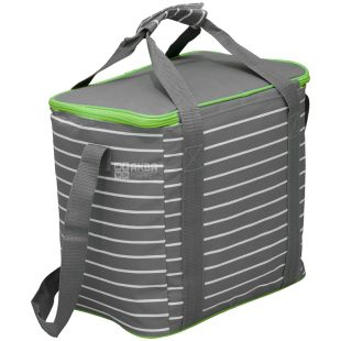Time Eco, Горизонтальна сумка-холодильник, салатово-сіра смужка, 20 л
