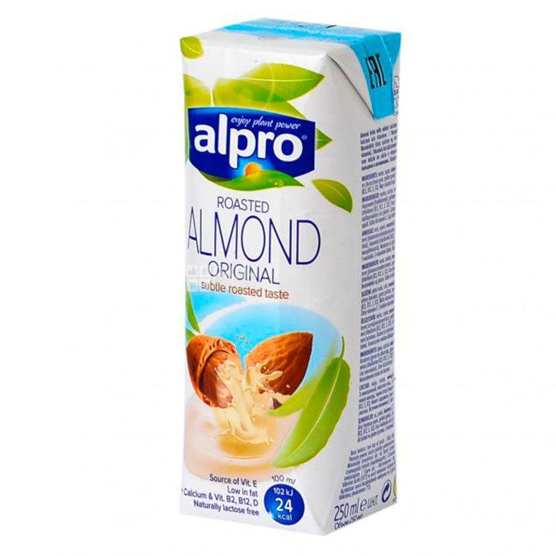 Alpro, Almond Original, 250 мл, Алпро, Мигдалеве молоко, оригінальне, вітамінізоване