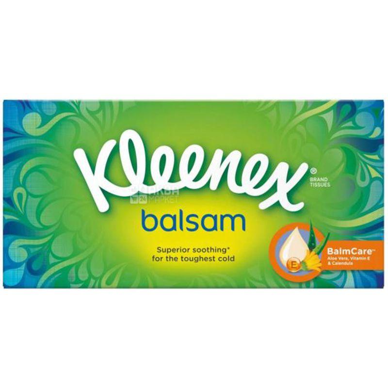 Kleenex Balsam, 72 шт., Серветки косметичні Клінекс Бальзам, тришарові, 21 х 18 см, білі