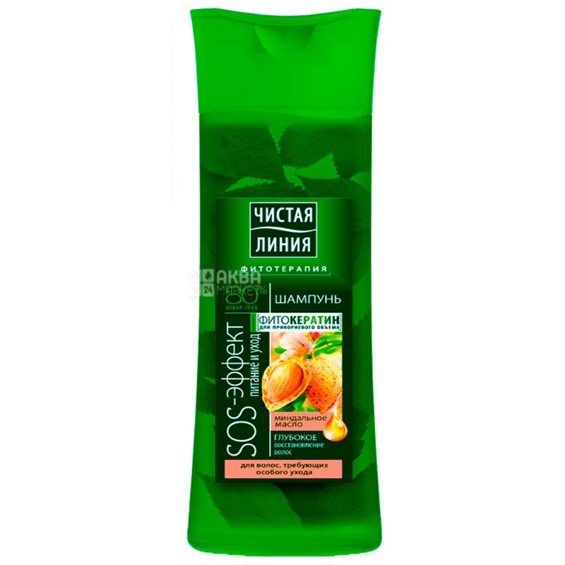 Чистая Линия, Питание и уход, Шампунь для волос с миндальным маслом, 400 мл