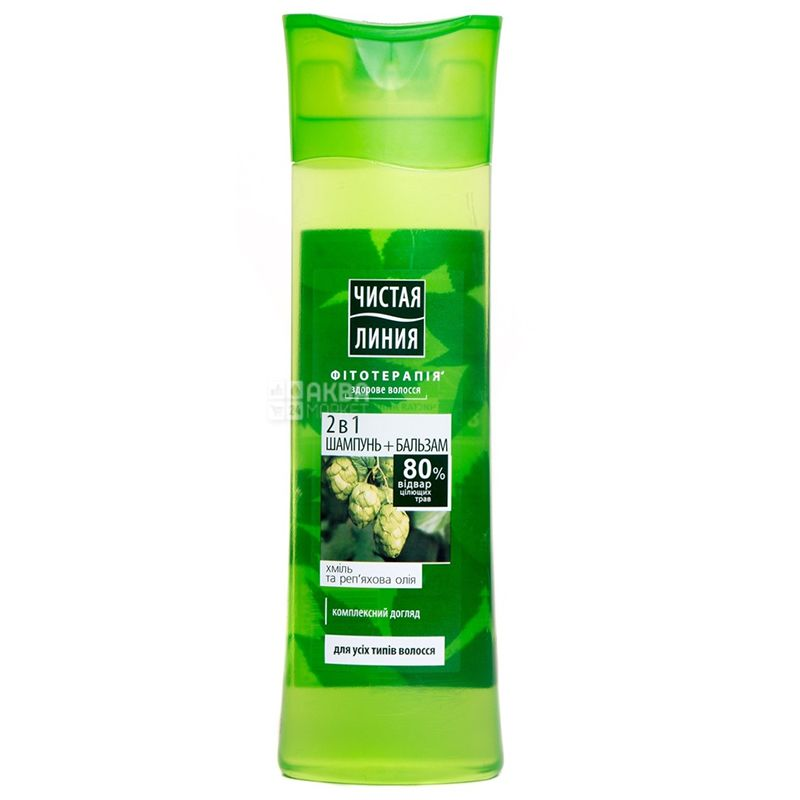 Чистая Линия, Шампунь-бальзам для всех типов волос с хмелем и репейным маслом, 400 мл