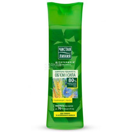 Чистая Линия, Объем и сила с экстрактом пшеницы и отвара льна, Шампунь для тонких и ослабленных волос, 400 мл