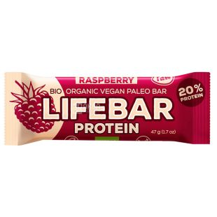 Bar organic protein Lifebar Raspberry, 47 g, TM Lifefood