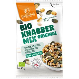 Смесь семян сои, тыквы и подсолнуха органическая Bio Knabber Mix Original, 50 г,  ТМ Landgarten