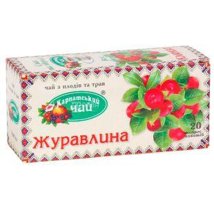 Карпатський чай, Журавлина, 20 пак., Чай з плодів і трав