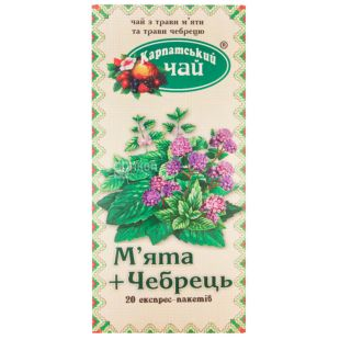Carpathian tea, Mint and Thyme, 20 pcs., Tea from the fruits of mint and thyme