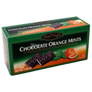 Chocolate black portion with mint and orange, 200 g, TM Maitre Truffout