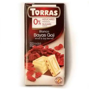 Torras Chocolate Blanco con Bayas Goji, Belgian chocolate with strawberries, without sahara, 75 g