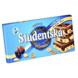 Studentska, Шоколад молочно-белый с изюмом, арахисом и желе, 180 г