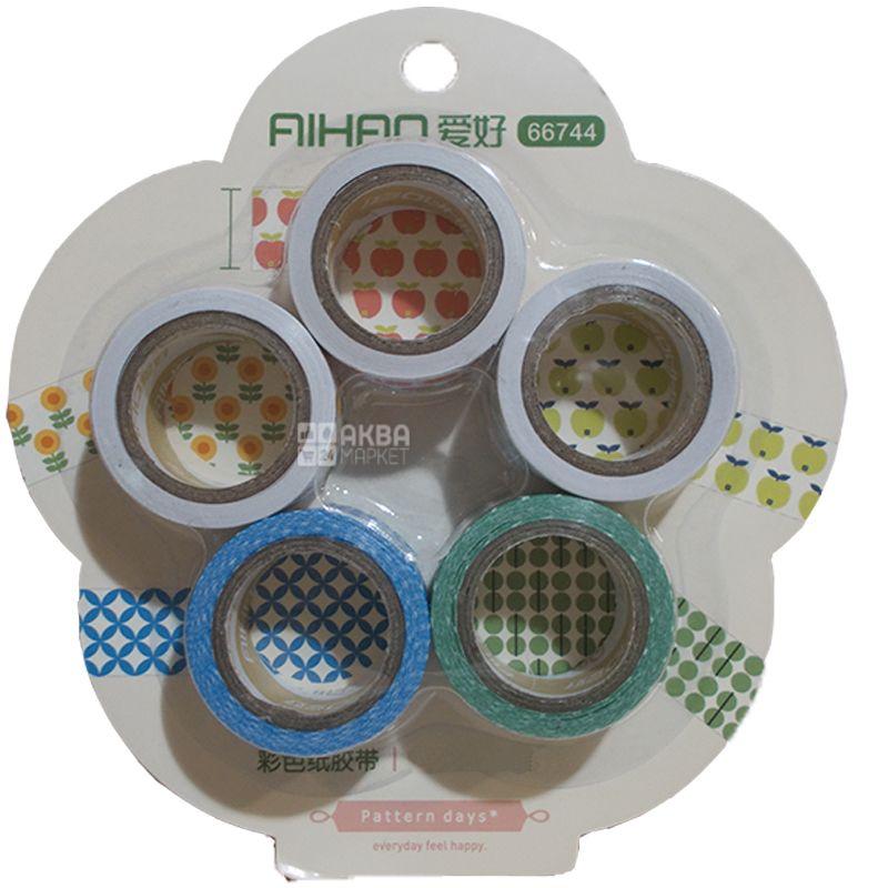 AIHAO, 5 штук в упаковці, Набір декоративного скотчу, 16,7 *5 мм