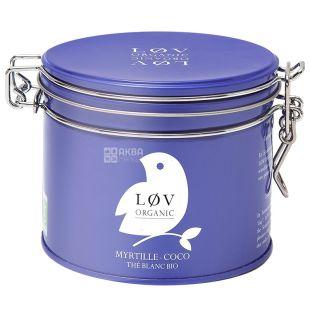 LoV Organic, Blueberry Coconut, 70 г, Чай Лов Органик, Черника - Кокос, Белый органический, ж/б