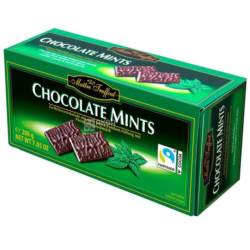 Maitre Truffout, Шоколад чорний порційний з ментолом, Файн Мінтс, 200 г