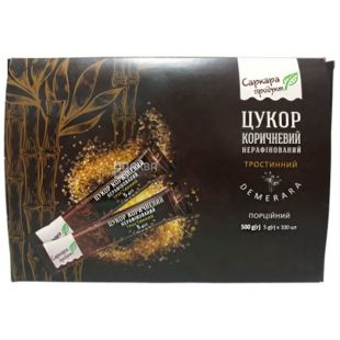 Sarkara, Brown Demerara Sugar, unrefined, in sticks, 5 gx 100 pcs.