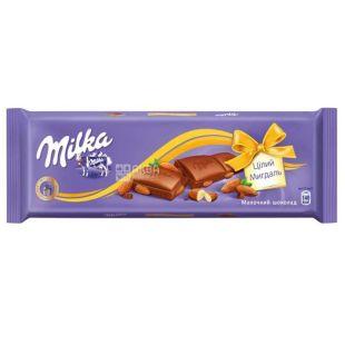 Milka, Шоколад молочний з мигдалем XL, 185 г