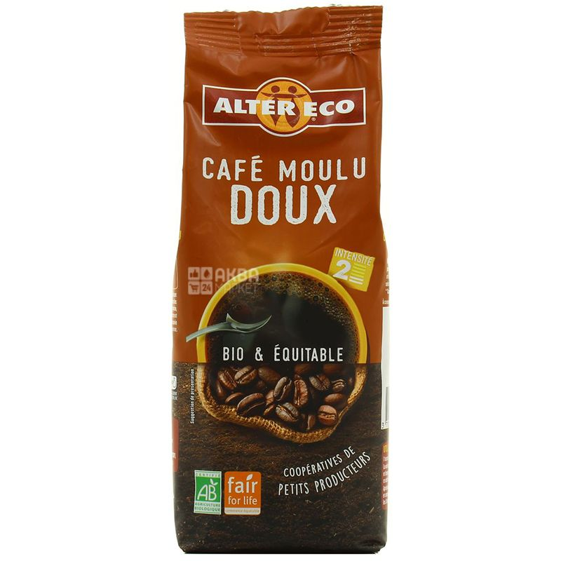 Alter Eco, Cafe moulu Doux, 250 г, Кофе Алтер Эко, Дю, молотый, органический