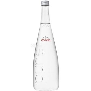 Evian, Non-carbonated water, 0.75 L, Glass, glass