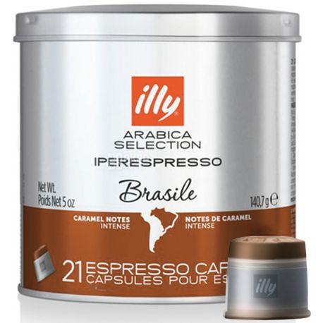 illy, Іperespresso Brazilе, monoarabica, 21 х 6,7 г, Кава Іллі, Іпереспрессо, Бразилія, моноарабіка, в капсулах, ж/б