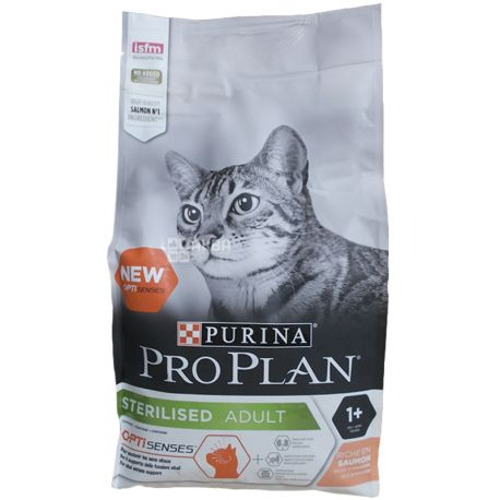 Pro Plan, 1,5 кг, корм для котов, Adult, Sterilised, Salmon