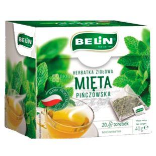 Belin, Mięta, 20 пак., Чай Бєлін, трав'яний з м'ятою
