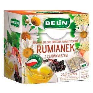 Belin, Чай фруктово-трав'яний, ромашка з ягодами бузини, 20 пак *2 г