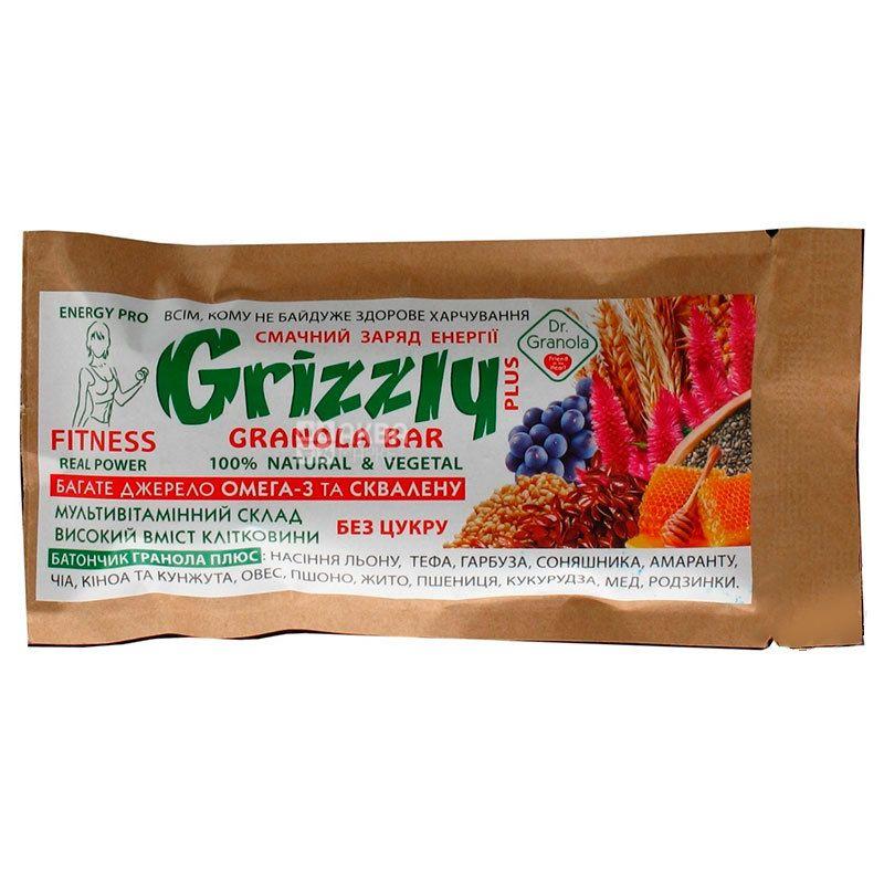 Dr.Granola Grizzly, Батончик-гранола без сахара, 30 г
