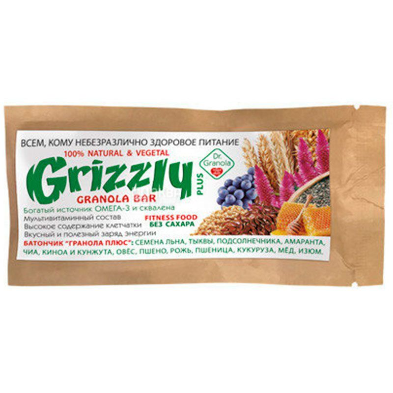Dr.Granola Grizzly Plus, Батончик-гранола без сахара, 30 г