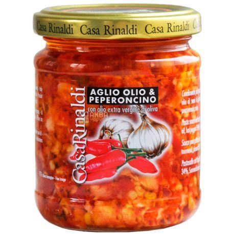 Casa Rinaldi Sugo Aglio Olio Peperoncino, Соус з часником, олією, гострим перцем, 190 г