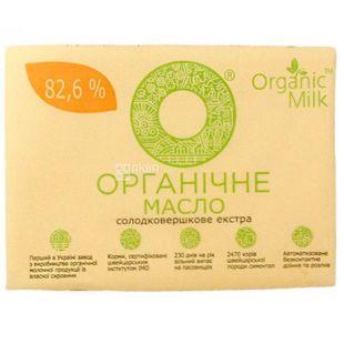 ТМ Organic milk, Масло органическое, сладкосливочное, 82,6%, 200 г