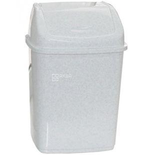 Атма, Урна для мусора с поворотной крышкой, белая пластиковая, 10 л