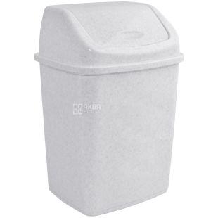 Атма, Урна для мусора с поворотной крышкой, белая пластиковая, 5 л