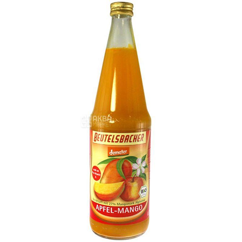 Beutelsbacher, Apfel-Mango, 0,7 л, Бойтельсбахер, Сік Яблуко-Манго, органічний, скло