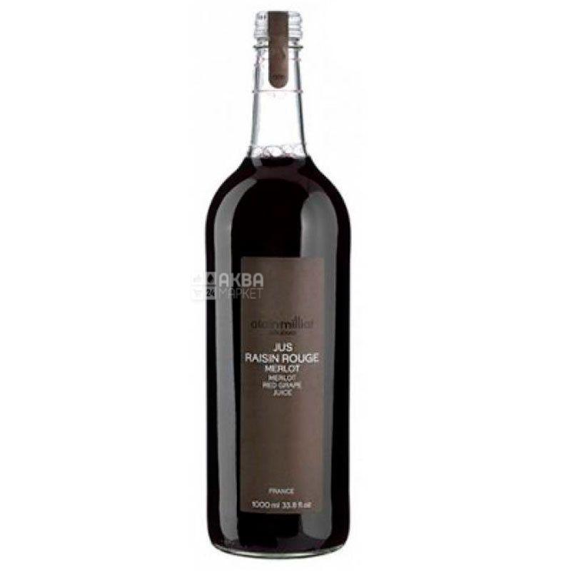 Alain Milliat, Jus de Raisin Rouge, Merlot, 1 л, Ален Миллиат, Сок Красный виноград сорта Мерло, стекло