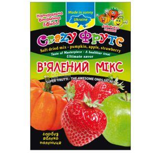 Crazy Фрутс, Мікс в'ялений, гарбуз, яблуко, полуниця, 50 г