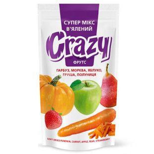 Crazy Фрутс, Мікс в'ялений, гарбуз, морква, яблуко, полуниця, груша, 50 г