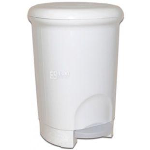 Атма, Урна для мусора с педалью, белая пластиковая, 14 л