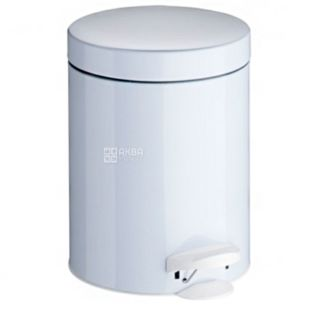 Atma, Waste bin with pedal, white metal, 5 l