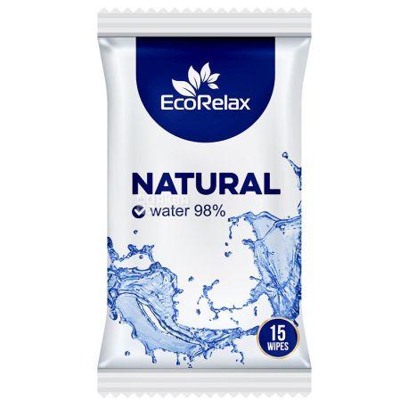 ECORelax Natural Water 98%, 15 шт., Серветки вологі Екорелакс, Натуральні, для догляду за шкірою