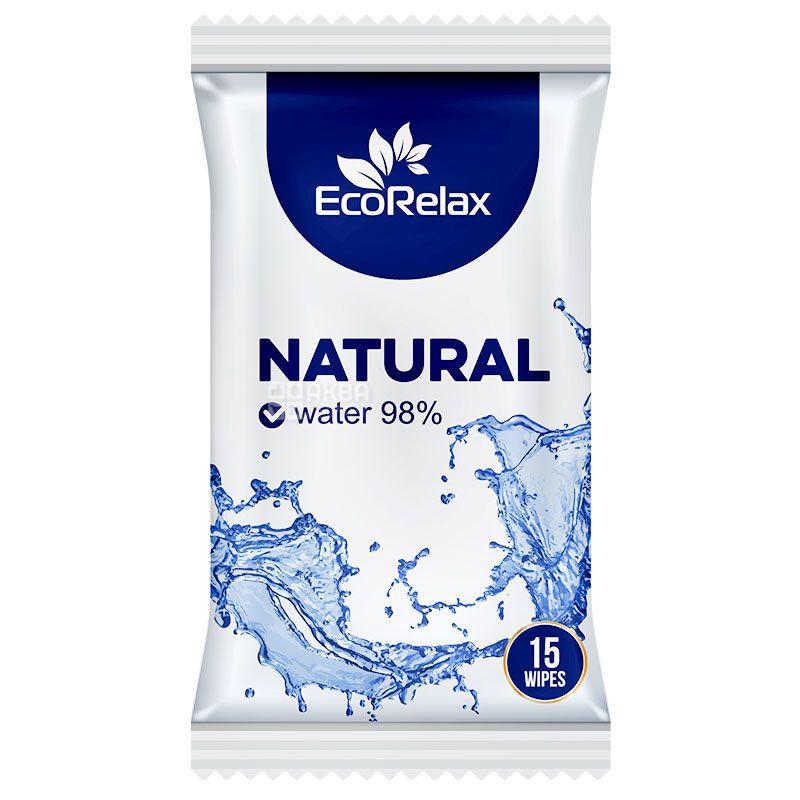 ECORelax Natural Water 98%, 15 шт., Салфетки влажные Экорелакс, Натуральные, для ухода за кожей