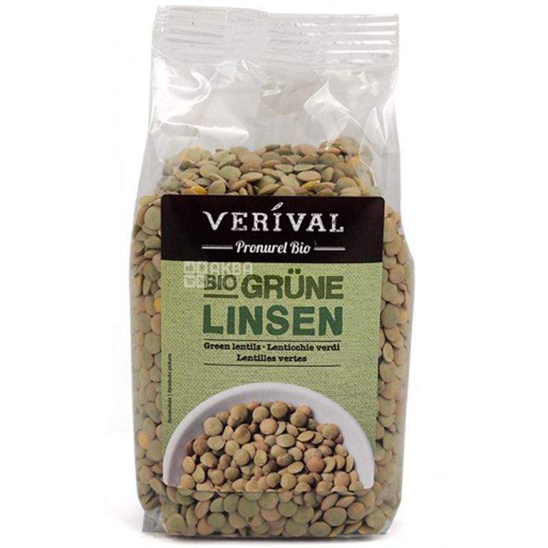 Verival, Bio Grune linsen, 0,25 кг, Веривал, Чечевица зеленая, органическая