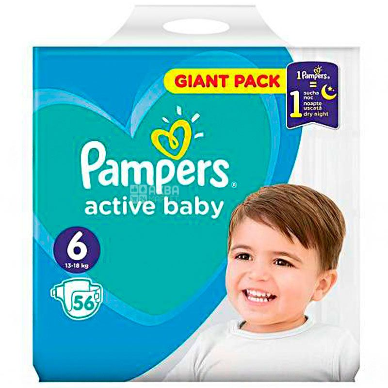 Pampers Active Baby-Dry 6, 56 шт., 13-18+ кг, Подгузники, Extra large, Giant Pack, м/у